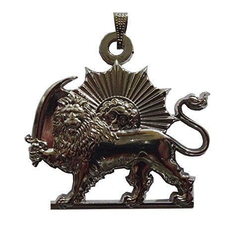 Herrliche Persien Löwe (Löwe und Sonne). Stahl Anhänger Silberton. Löwe und Schwert. Kette 60 cm verstellbar ist.