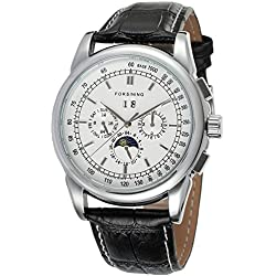 Forsining Men's Automatic Seld-wind Movement Moon Phase Display Luxury Leather Wrist Watch FSG319M3S5