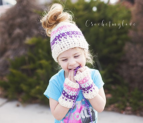 Colorwork Bun hat and mitts pattern: crochet pattern  (English Edition) Toddler Mitt
