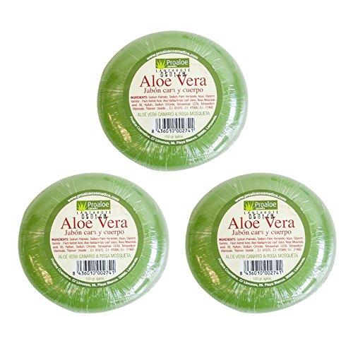 Jabón de Aloe Vera 100% Canarias. Jabón Pastilla. Purifica, Suaviza, Calma y Regenera. 3 Jabones de 100gr