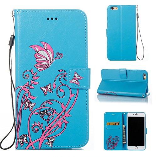 Case MAGQI iPhone 6 Plus/6S Plus 5.5 Custodia,Morbido Durevole Portafoglio in Pelle PU Premium Rosa Farfalla Embossed Fiore Modello Copertina Basamento del Telefono Flip Stile Libro Copertura Protetti Cielo Blu