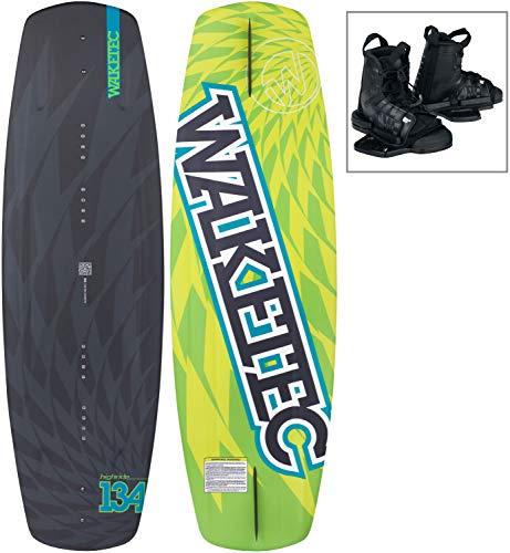 WAKETEC Wakeboard-Set HighRide 134 cm mit Moto Bindung, Package für Anfänger und Fortgeschrittene, leicht zu Fahren, Körpergewicht 40-75 kg, Kinder Erwachsene Einsteiger Set, schwarz grün, Größe:S-M