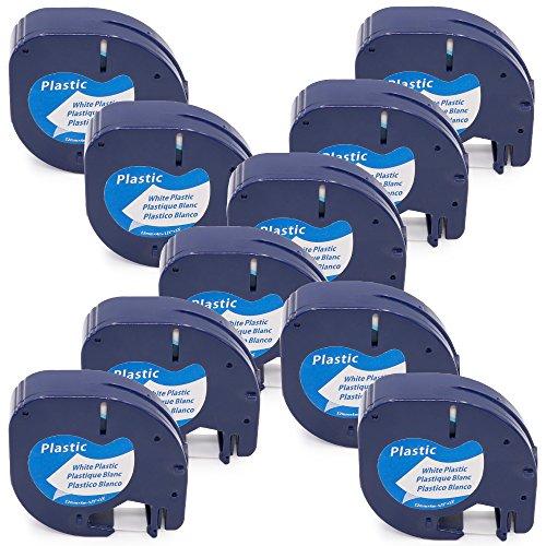 Markurlife 10 pack Etikettenbänder Kompatibel mit Dymo LetraTag 91221 S0721660 Schwarz auf Weiß Bandkassette 12mm breit und 4m lang Beschriftungsbänder Schriftbandkassette Anzug für Etikettiermaschine Dymo LetraTag LT-100H LT-100T Plus LT-100H LT-100T XM 2000 / Dymo LetraTag QX50 / Dymo LetraTag XR