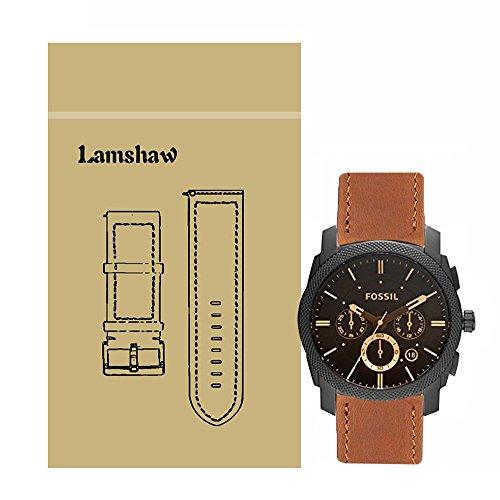 Ceston Classic Ersatz Uhrenarmband für Fossil Herren-Uhren FS4656 (Leder-Braun)