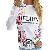 Creer Tops De Manga Larga De La Camiseta Ocasional De Base Blanca Florales Impresa Mujeres Frescas