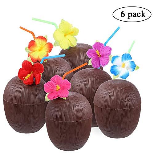 rtybecher, 6 Stück, 454 ml, Ananasbecher mit Blumenstrohhalmen, für den Sommer, Hawaii-Party, lustige Früchtebecher aus Kunststoff, für Strand und Pool - 6 Pcs Coconut Cup ()