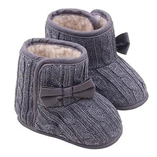 Auxma Baby-Winter-Warmlauflernschuhe Bowknot weiche Sohle Kleinkind -Schnee-Aufladungen für 3-12 Monate (11 3-6 M, Grau)