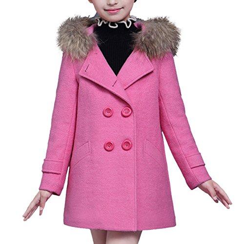 iBaste Fashion Wollmantel mit Kapuze Kinder Mädchen Zweireiher Pelzkragen Dick Warm Winterjacke Wintermantel Jacket Mantel Übergangsjacke Trechcoat Herbst Winter