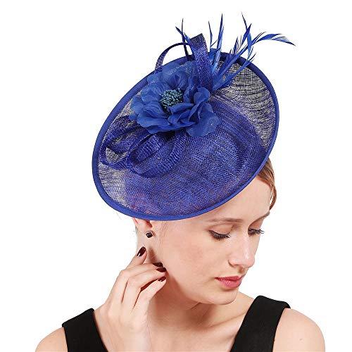 QTJKH Cappello da Cocktail Cappello da Sposa Forcina per Capelli con Copricapo A Fiori in Filato di Canapa Retro Zaffiro Blu