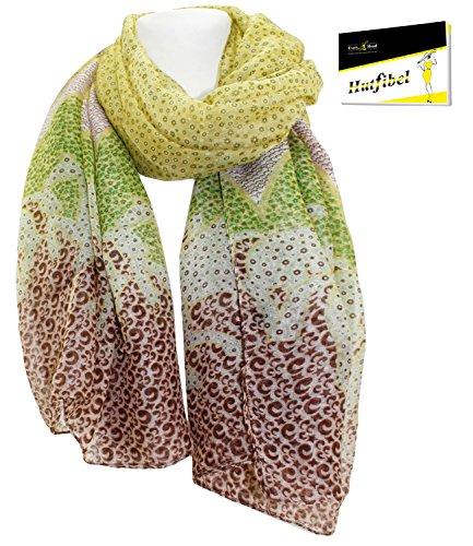 Fiebig Damentuch Halstuch Sommertuch leichter Sommerschal Wickeltuch Umschlagtuch Tuch Schal gemustert für Frauen (FI-597108-S17-DA4) inkl. EveryHead-Hutfibel Gelb