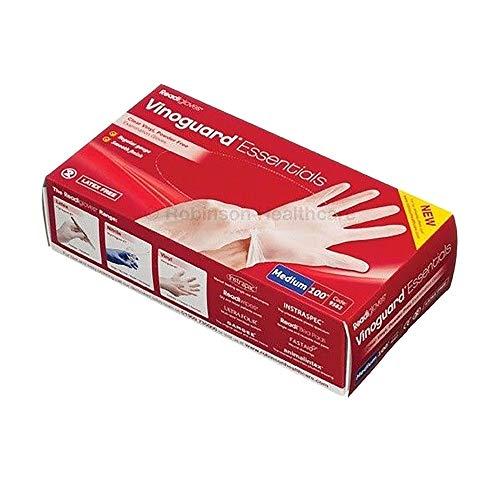 Robinsons Vinoguard Essentials Latex freie Vinyl Handschuhe (100 Stück/Packung) (Medium) (Weiß)
