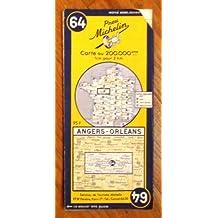 Ancienne Carte Michelin n° 64 : Angers - Orléans. Carte au 200.000e. Numéro blanc dans un cercle bleu. Michelin et Cie, Clermont-Ferrand. 1953. (Carte Michelin, Anjou, Maine-et-Loire, Sarthe, Touraine, Orléanais)