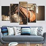 Mddjj Kunstwerke Dekor Modernes Zuhause Wohnzimmer 5 Stücke Tier Pferd Bilder Modulare Leinwand Gemälde Wandkunst Hd Drucke Gerahmte Poster Wohnzimmer Dekoration