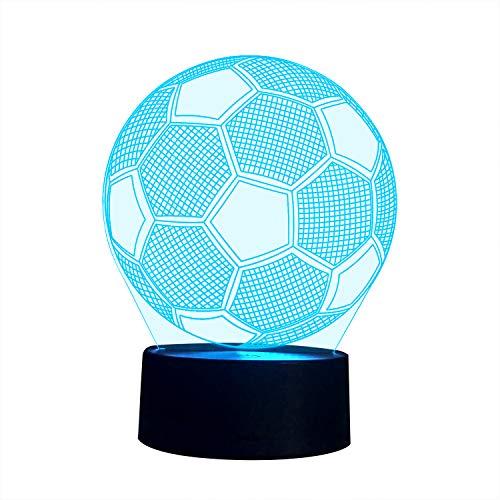 3D Illusion Nachtlampe, SUNINESS 7 Farben ändern Touch Control LED Schreibtisch Tisch Nachtlicht für Kinder Kinder Familie Ferienhaus Dekoration Valentinstag beste Geschenk(Fußball) (Valentinstag Für Kinder)