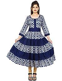AnjuShree Choice Women Stitched Blue Printed Cotton Anarkali Kurti Kurta