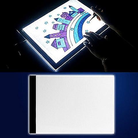 A4 LED Tables lumineuses Light Trace Pad, InGoo Copy Luminosité Tablette Table de traçage Light Box pour Pochoir Arts Dessiner Animation Esquisser Tatouage Architecture désign Câble USB