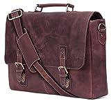 Rustic Town 15-Zoll-Leder-Kurier-Beutel-Kreuz-Körper-Umhängetasche Geschenk Männer Frauen Laptop-Tasche (Dark Brown)