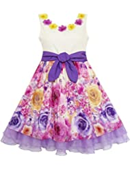 Sunny Fashion Robe Fille Épanouissement Fleur Arc Attacher Layered Organza