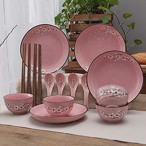 RKY Bol- Couleur mélangée japonaise cadeaux créatifs ménagers vaisselle en céramique vaisselle hacher plats plats bol cuillère set 16 pièces combinaison set -5 couleurs en option /-/