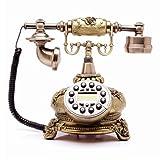 Xi Man Shop Festnetztelefon Antikes Telefon Kontinental Retro Altmodisch Nostalgisch Home Office Festnetz Metallic Rotation Ringtones Braun Messing (Color : A (Button))