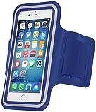 MOVOJA Sport-Fitness-Jogging-Armband Blau Hülle Case für Smartphone Handy Neopren Oberarmtasche | mit Kopfhöhreranschluss geeignet für iPhone 6, iPhone 6s.