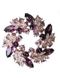 Fashion Plaza Damen Brosche elegant Stil mit lila Kristall kranz Form BR94