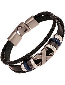 Encanto de la vendimia de múltiples capas de abrigo tejido ajustable pulsera de cuero unisex joyería de moda (A)