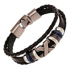 Idea Regalo - Monili unisex di modo del braccialetto di cuoio registrabile dell'involucro tessuto multistrato di fascino dell'annata (A)