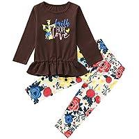 JYC Conjuntos para niñas,Ropa para Chicas,2PC Niños Bebé Chicas Largo Manga Carta ImpresiónTops + Floral Impresión Pantalones Conjunto
