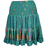Mogul Interior Womens Dancing Skirt Upcycled Silk Tiered Beach Chick