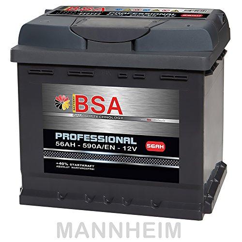 BSA Autobatterie 56Ah 12V 590A/EN ersetzt 44Ah 45Ah 52Ah 53Ah 54Ah 55Ah Extreme Startkraft