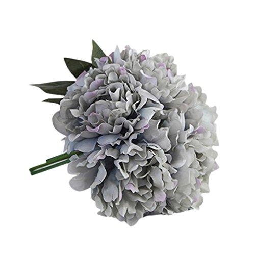 Mitlfuny Unechte Blumen, Kunstseide Gefälschte Blumen Pfingstrose Floral Brautstrauß Braut Hortensien Dekor (Blau) (Blaue Hortensie Brautstrauß)