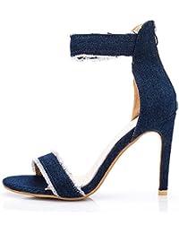 Frauen High Heels Schuhe Sommer Neue Quasten Mode Sandalen Fein Mit Bequemen Denim Damen Schuhe GAOLIXIA