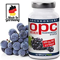 OPC Traubenkernextrakt Kapseln 600mg Intensiv - Der VERGLEICHSSIEGER 2018* - 60 vegane Kapseln mit 95% OPC Gehalt plus Vitamin C - Laborgeprüft ohne unerwünschte Zusätze hergestellt in Deutschland