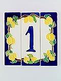 Hausnummern aus Keramik, Hausnummer Zitronen, Dübel Keramik NLP 1.Dim: Höhe 12cm, Breite insgesamt 12cm