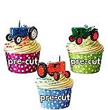 12 X Traktor Vintage-Mix grün, rot, blau, essbar, Esspapier, Cupcake-Ups-Ständer