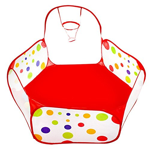 Le-Dafei Giochi per bambini tenda Pois Box sfera Pit Interni Esterni Tunnel Cubby-Tube-tenda canadese giochi casa gioco Toy Hut popolare facile Ocean Ball Pool con Canestro da pallacanestro, portatile e resistente