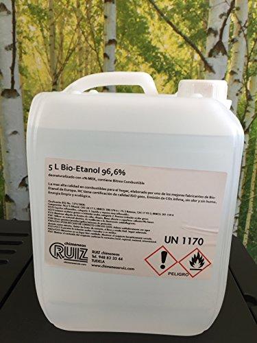 Bioetanol liquido 96.6º. 20 litros (4 garrafas de 5 litros) de combustible...