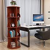 Weinregal ZCJB Rotierende Bücherregal Multilayer Large Capacity Tisch Lagerregal Study Table Kreative Und Einfache Studie Schlafzimmer Finishing Rack (Farbe : Teak Color, größe : 4-Tier)