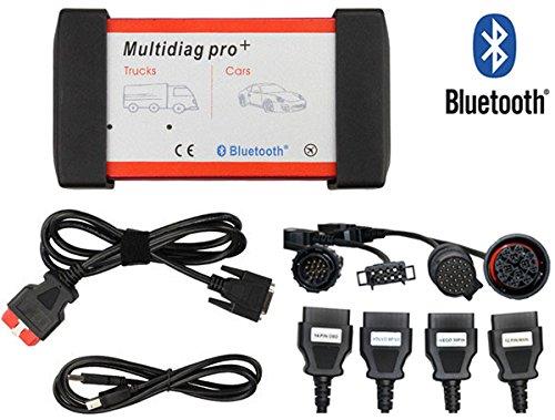 Preisvergleich Produktbild SODA Profi KFZ OEM Diagnosegerät OBD OBD2 Scanner Code Reader für LKW & PKW AUDI VW BMW MERCESDES FORD OPEL Bluetooth (Rot(mit BT)+LKW Kabelsatz)