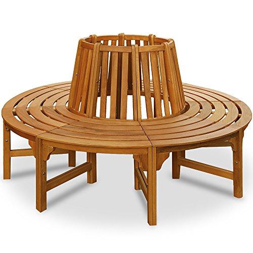 Baumbank 360° | FSC-zertifiziertes Eukalyptusholz | Ø 190 cm | Vorgeölt | Rundbank Gartenbank...