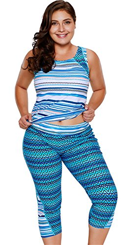2 PCs Stück Ohne Arm ärmelloser Geometrisch Gepolstert Tankini Oberteil Top Mit Kurze Hose Badeshorts Shorts Badehose Wetsuit Swimwear Swimsuit Bademode Beachwear Set Blau M (Athletic Wear Capri)