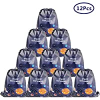 Cieovo 12 Pack Outer Space Party Favor Goodie Bags, Treat Gift Drawstring Bag Solar System Backpack Birthday Party Decoration Supplies for Baby Shower Planet Outer Space Theme Birthday Party Supplies