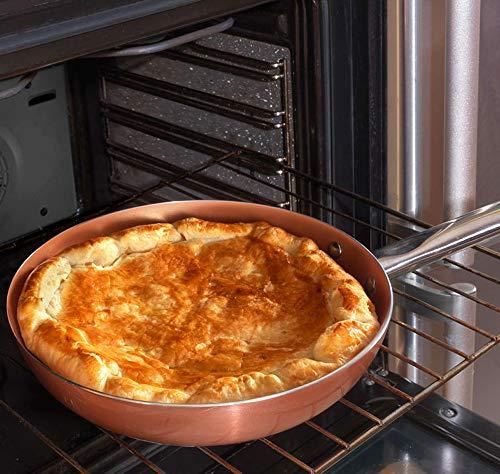 Los originales Chef Copper Plus! Juego de 3 sartenes con revestimiento de cobre ultra resistente - 100% libre de PFOA - 18/22/26 cm también se pueden utilizar en horno, en cocinas de gas e inducción