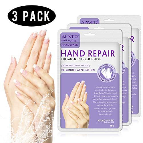 Maschera peeling per mani 3PC guanti spa per migliorare lumidità per mani asciutte maschera esfoliante peeling per le mani riparare la pelle ruvida