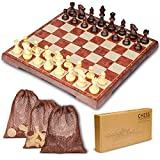 HENMI Schachspiel Einklappbar Schachbrett Pädagogische Schach mit Magnetisch Deluxe 2in1 Schach mit Portable Klappbrett (31.2x31.2CM) Design für Kinder und Erwachsen mit Aufbewahrungsbeutel