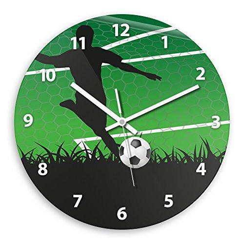 Wanduhr mit schönem Fußball-Motiv für Jungen | Kinderzimmer-Uhr | Kinder-Uhr