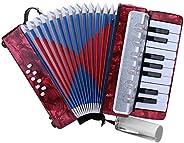 Drfeify Acordeón de 17 Teclas, 8 Acordeón de Piano Bajo 17 Acordeón de Piano Bajo para Principiantes Niños