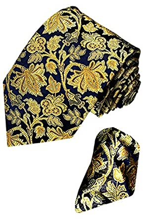 LORENZO CANA - Luxury Set Tie and Hanky Jacquard Woven Italian 100 % Silk Handmade Necktie Ties - Gold Floral Pattern - 8421201