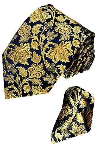 LORENZO CANA - Mondaenes Set aus 100% Seide : Krawatte mit Einstecktuch - blau gold floral Blätter mit Tuch - 8421201